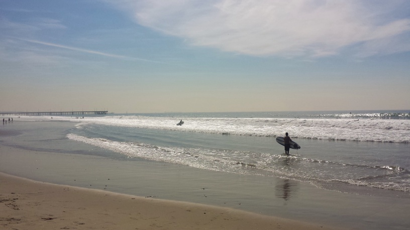 Surfers at the Pacific Ocean, Venice Beach