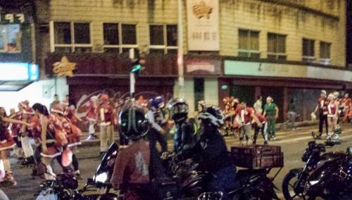 Rollerblading Santas in Medellin, Colombia