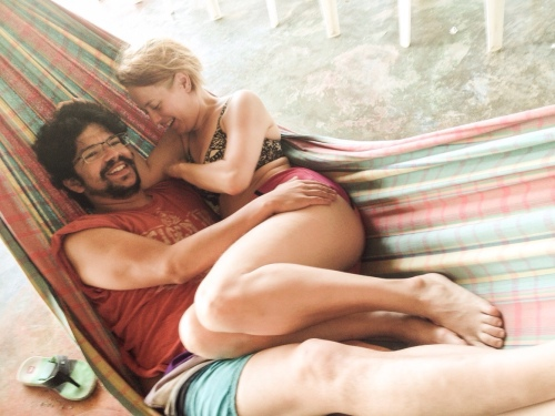 Rob and Franki in a hammock in Cartagena, Colombia