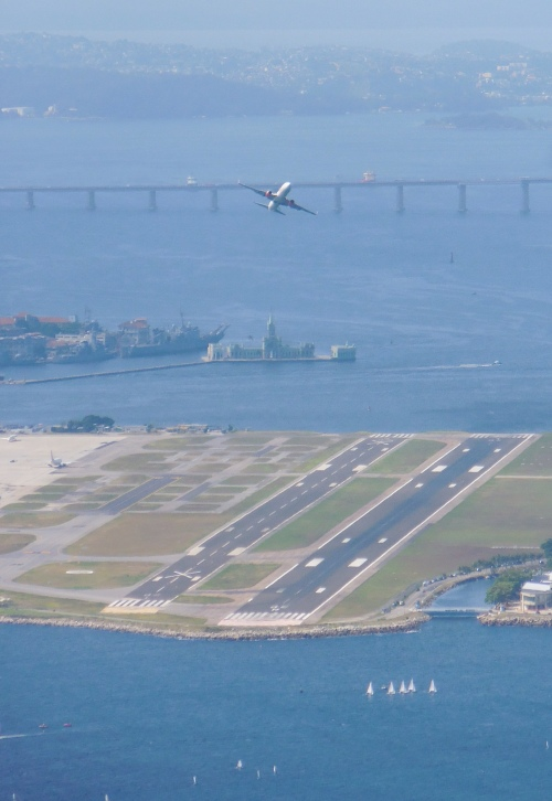 Plane taking off from Santos Dumont airport, Rio de Janeiro