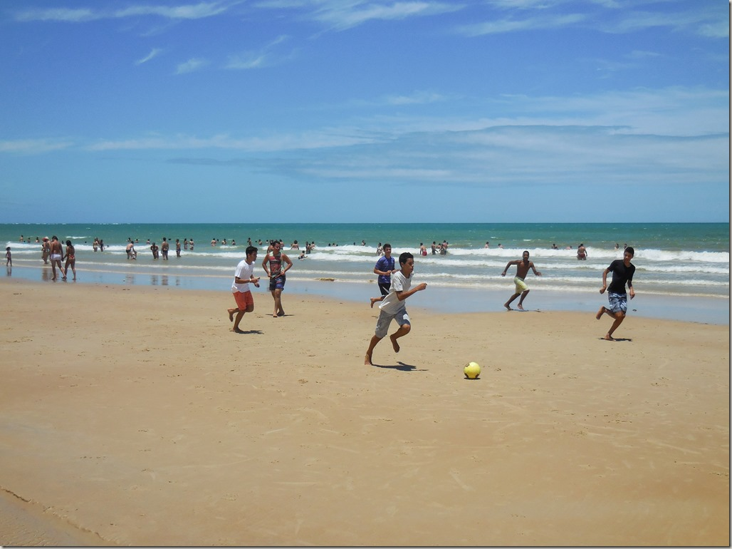 Football on the beach in Brazil