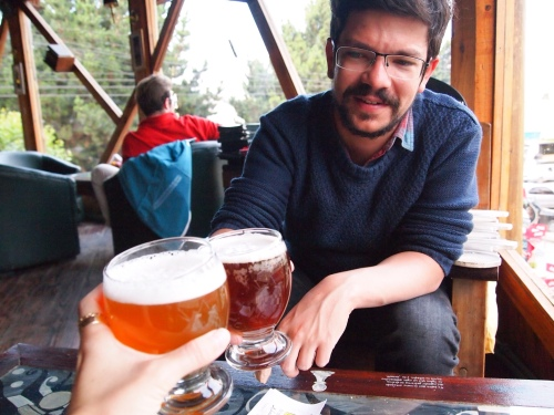 Sharing a beer at Borges y Alvarez, El Calafate