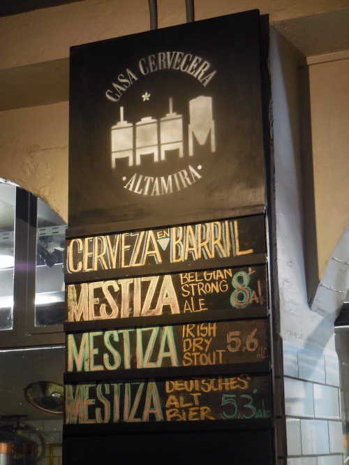 Altamira beer menu